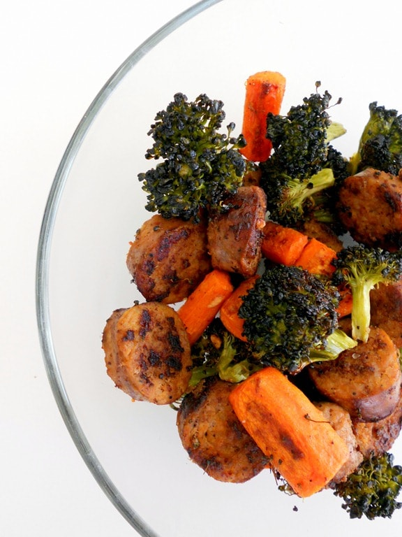 Hot Italian Sausage with Roasted Broccoli and Carrots