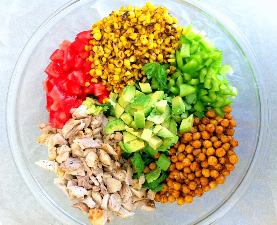 Chicken Chopped Salad with Roasted Chickpeas