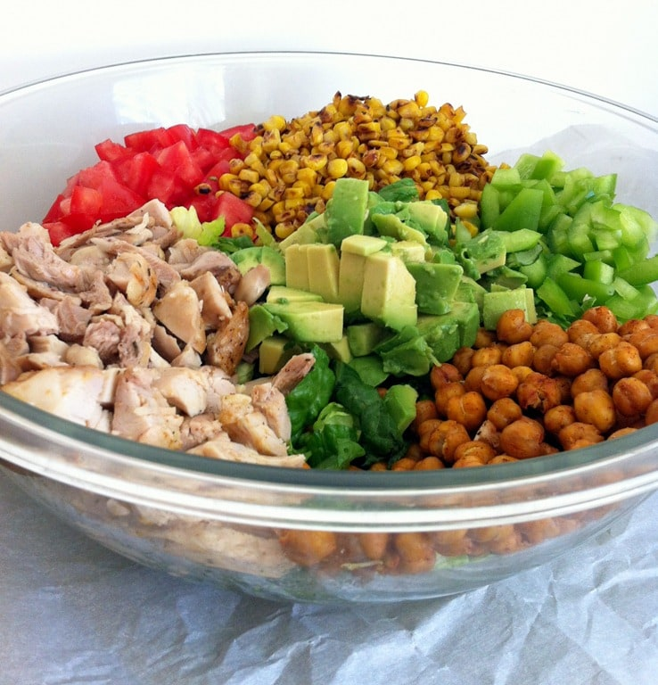 Chicken Chopped Salad with Roasted Chickpeas - The Wheatless Kitchen