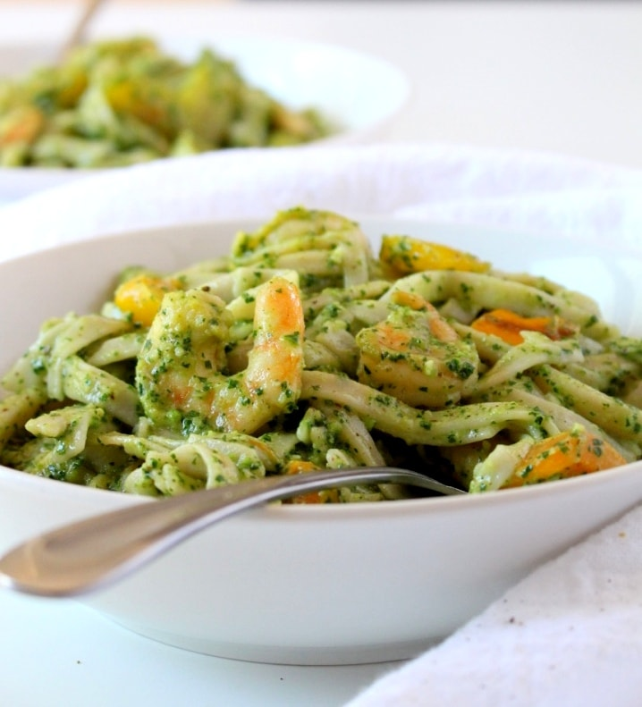 Kale Pesto Pasta with Peppers and Shrimp - The Wheatless Kitchen