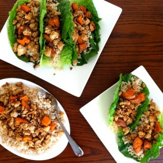 Turkey Lettuce Wraps with Coconut Rice + Sweet Potatoes