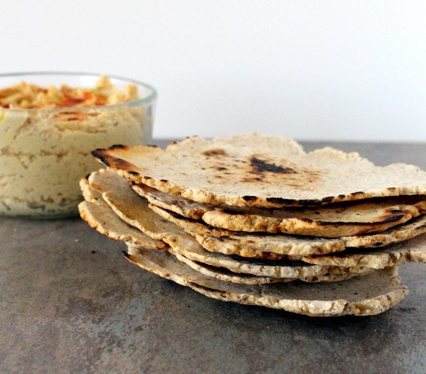 gluten free flatbread and homemade roasted garlic hummus