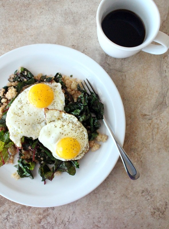 Sauteed Chard with Quinoa + Eggs - The Wheatless Kitchen