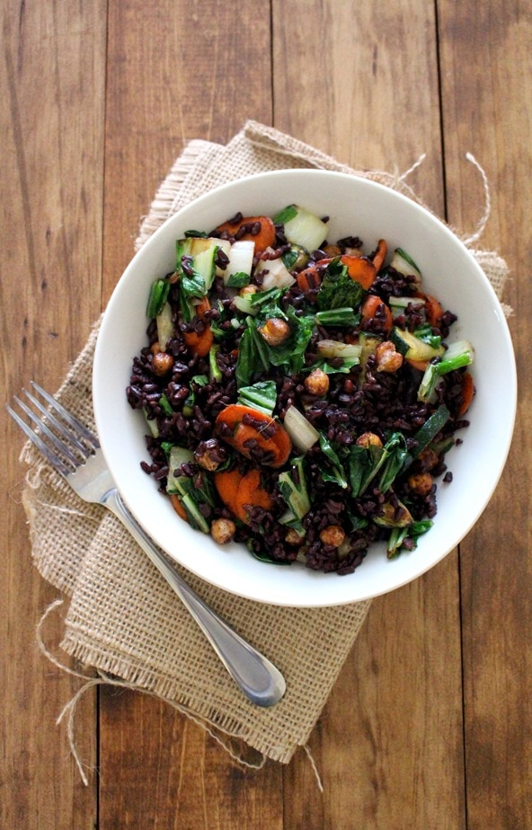 Black Rice Stir-Fry with Bok Choy, Carrots + Chickpeas - The Wheatless ...