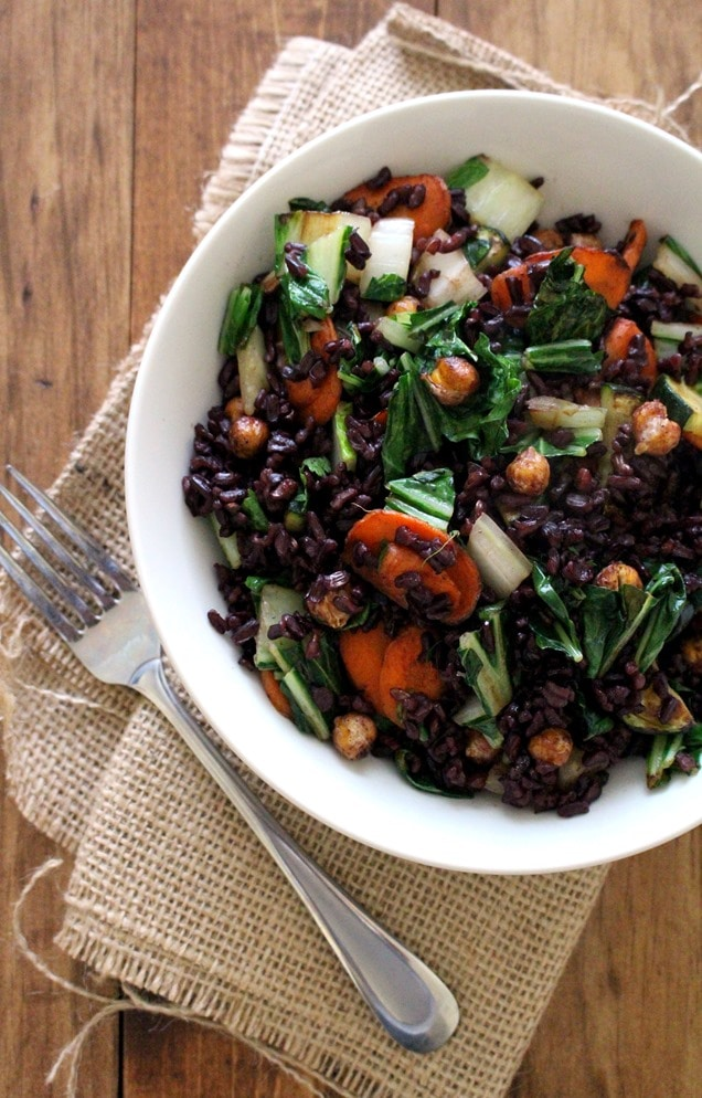 Black Rice Stir-Fry with Bok Choy, Carrots + Chickpeas ...