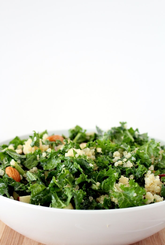 Kale and Apple Salad with Quinoa + Honey Mustard Dressing