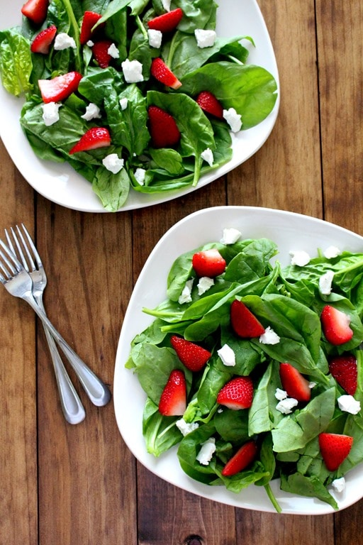 Strawberry and Spinach Salad with Goat Cheese + Balsamic Vinaigrette ...