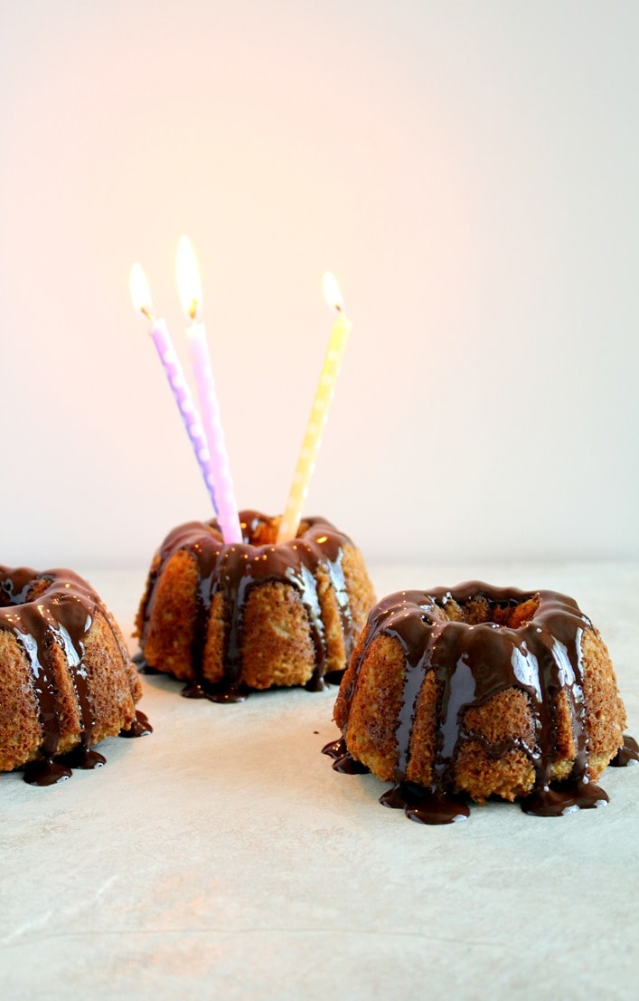 Almond Coconut Mini Bundt Cakes with Chocolate Glaze
