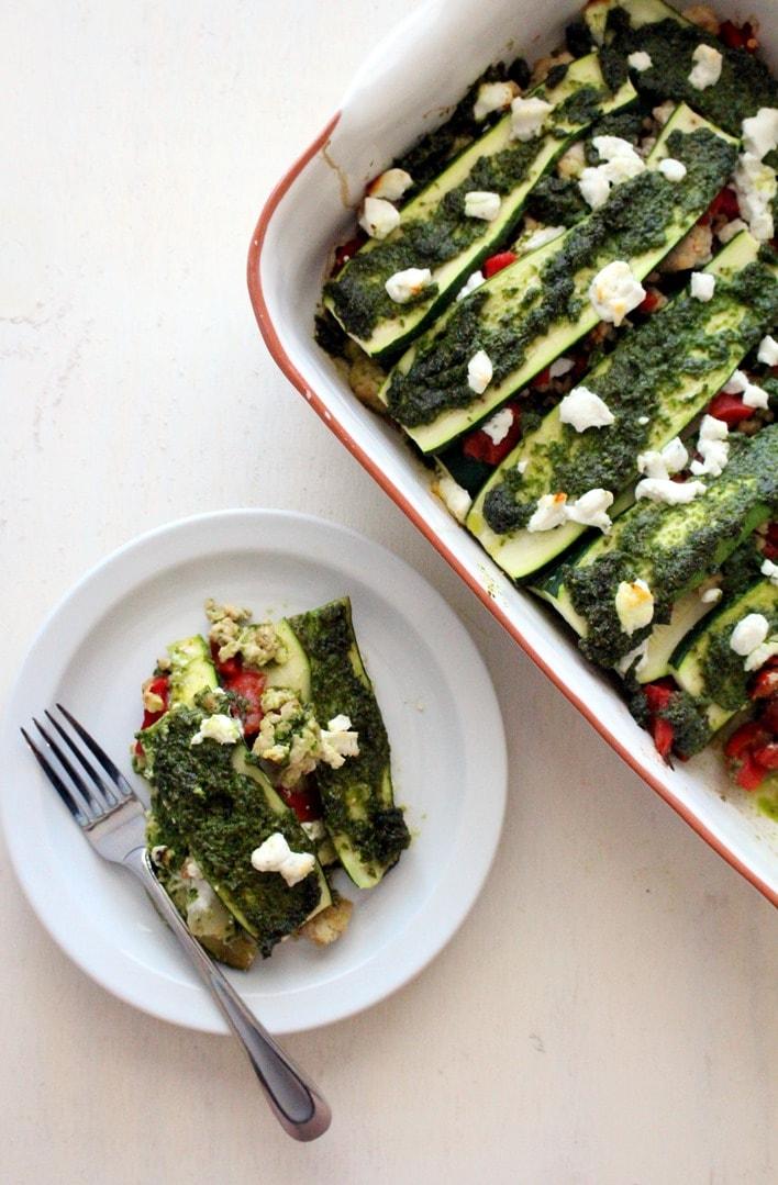Noodle-less Zucchini Pesto Lasagna - The Wheatless Kitchen