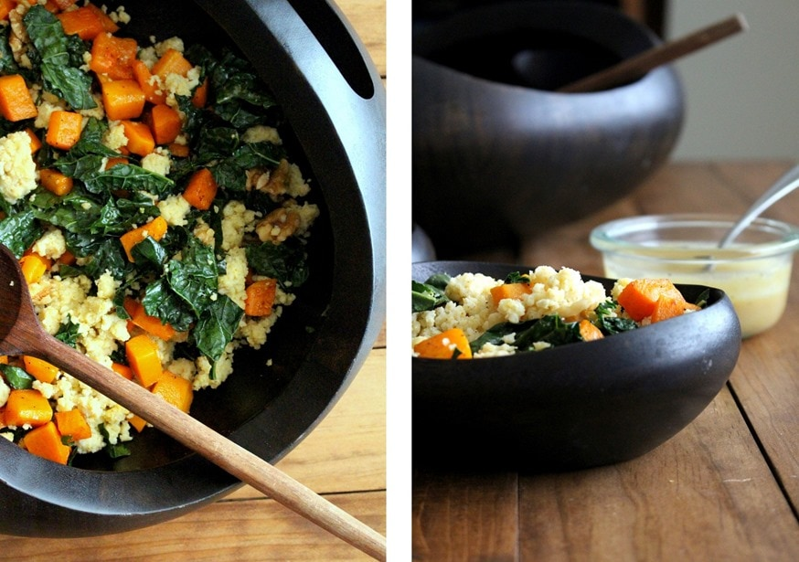 Millet Salad with Roasted Butternut, Kale, Walnuts + Tahini Dressing