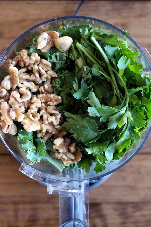 Baked Spaghetti Squash with Kale Pesto + Vegan Parmesan - The ...