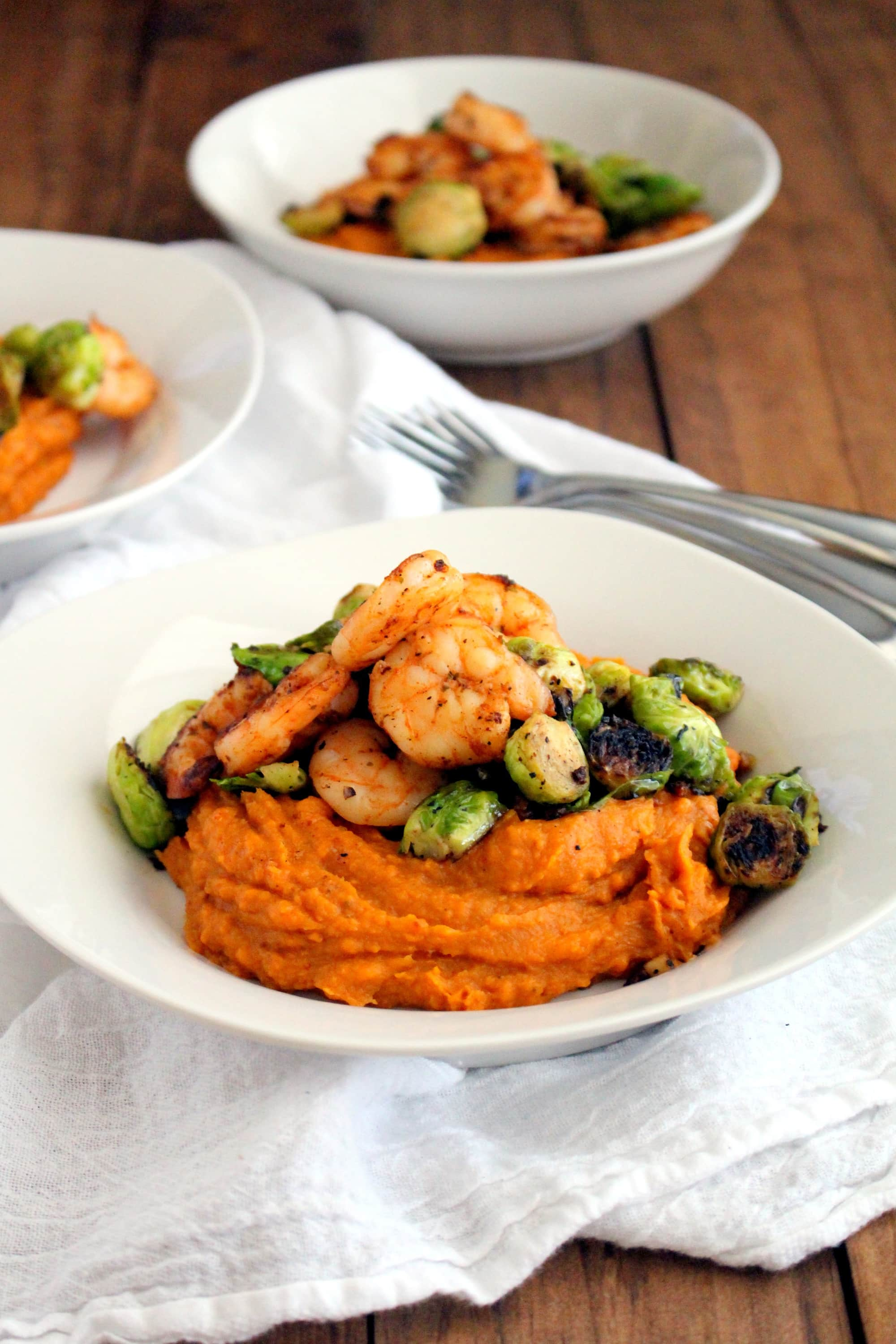 Sweet Potato Puree with Sauteed Shrimp + Brussels - The Wheatless ...