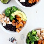 Black Rice Bowl with Sweet Potatoes, Broccoli + Chicken