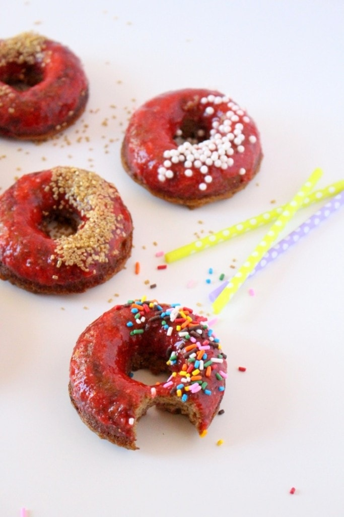 Grain-Free Strawberry Birthday Cake Donuts