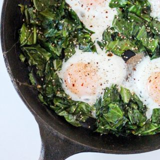 Baked Eggs with Garlicky Collard Greens