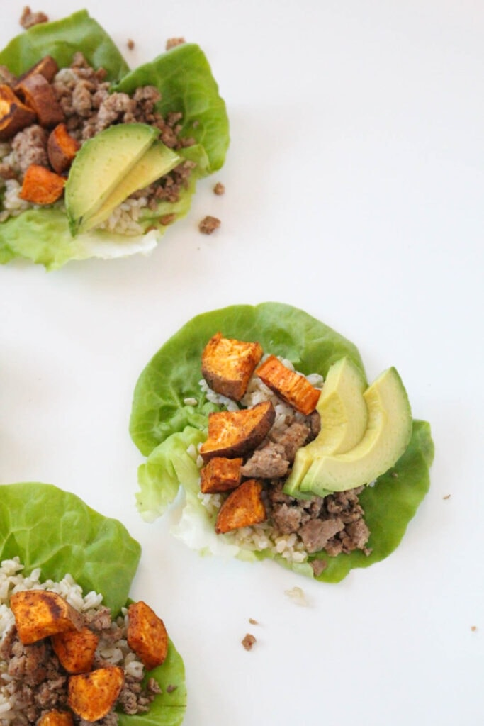 turkey lettuce wraps with coconut rice and sweet potatoes