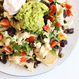 Loaded Nachos with Vegan 'Cheese' Sauce