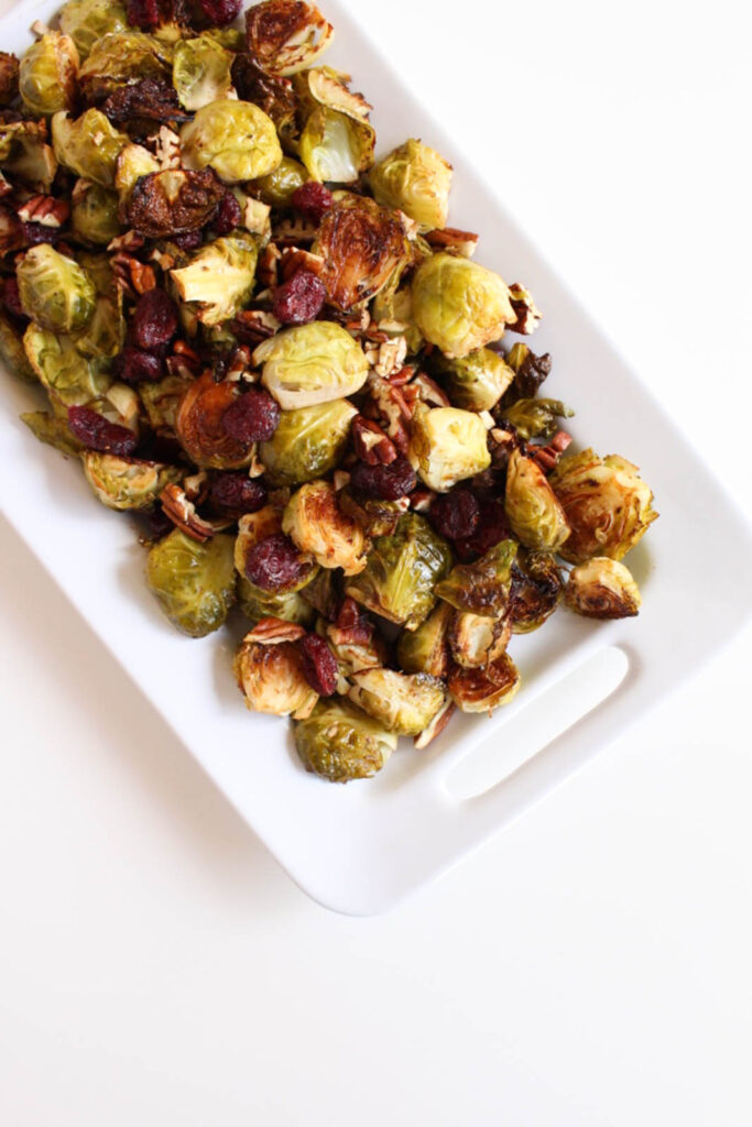 Balsamic Roasted Brussels Sprouts with Pecans & Cranberries
