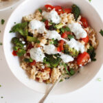 Greek-Style Brown Rice Bowl & Lemon Yogurt Sauce
